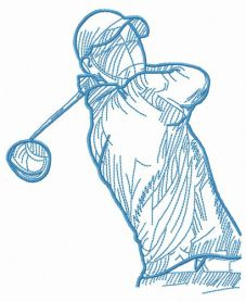 Golfer with club machine embroidery design