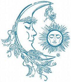 Sleeping moon and sun machine embroidery design