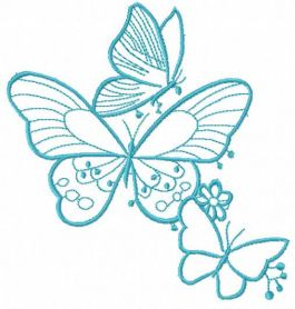 Blue butterflies free embroidery design