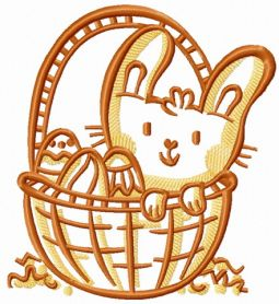 Funny Easter bunny in basket machine embroidery design