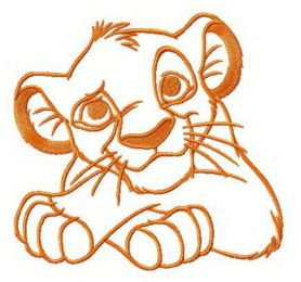 Simba's thoughts machine embroidery design