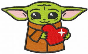 Loving baby yoda with heart