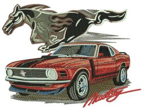Mustang car 3 machine embroidery design