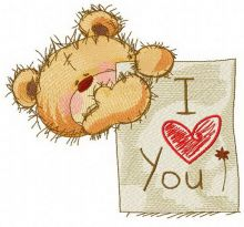 Teddy bear with I LOVE YOU board 2