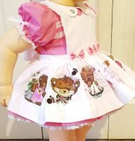 Doll dress with teddy embroidery