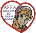Anna listen to your heart embroidery design