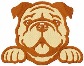 Bulldog peeking cute free embroidery design