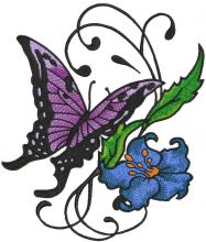 Vintage butterfly and flower