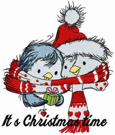 Penguin's Christmas time 5 machine embroidery design