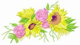 Summer wreath machine embroidery design