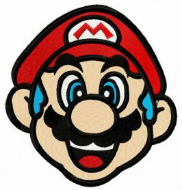 Blue-haired Mario machine embroidery design