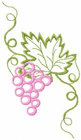 Bunch grapes free machine embroidery design