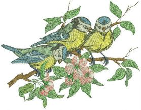 Flock of blue tits machine embroidery design
