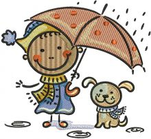 Boy and dog under rain