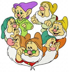 Seven dwarfs machine embroidery design