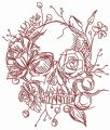 Skull overgrown with flowers 3 embroidery design