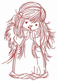 Praying angel 3 machine embroidery design