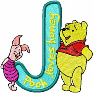 Winnie Pooh and Piglet Alphabet Letter J