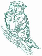 Birdie on tree branch sketch