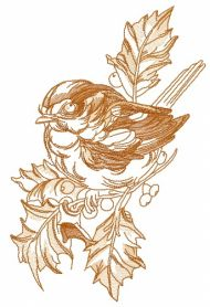 Robin on branch of holly 2 machine embroidery design