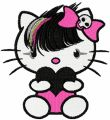 Hello Kitty Emo embroidery design