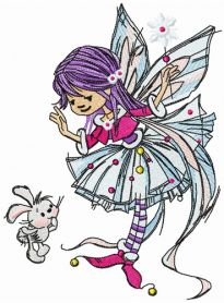 Young fairy with bunny machine embroidery design