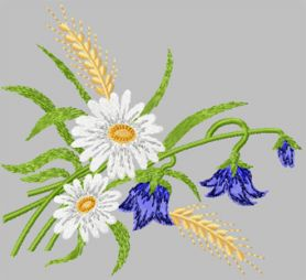 Daisies and Ears of Wheat machine embroidery design