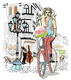 Cycling with bouquet machine embroidery design