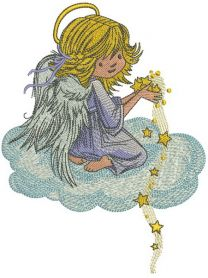 Angel with star dust machine embroidery design