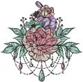 Peony bouquet embroidery design