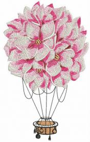 Floral hot air balloon machine embroidery design