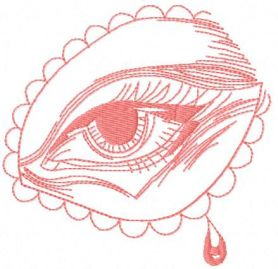 Pink eye free embroidery design