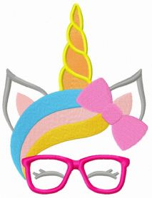 Unicorn with glasses machine embroidery design