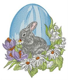 Gray Easter bunny machine embroidery design