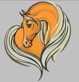 Horse heart free embroidery design
