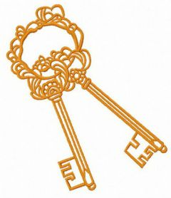Golden keys  machine embroidery design