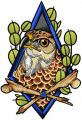 Eagle in frame embroidery design