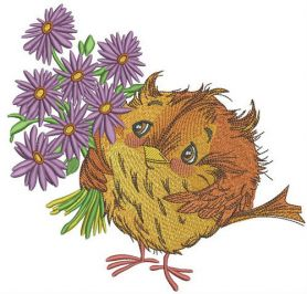 Sparrow with asters machine embroidery design