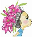 Girl with wreath of lilies embroidery design