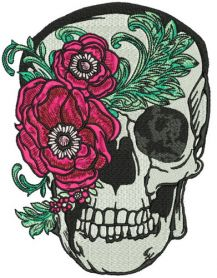 Skull with peony mask machine embroidery design