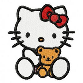 Hello Kitty with Small Bear machine embroidery design