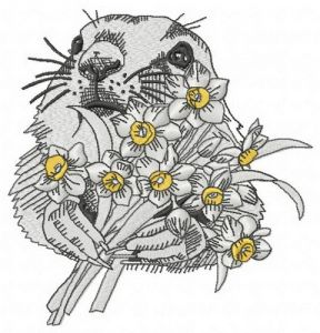 Gopher with daffodils