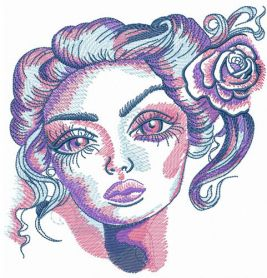 Beauty with big eyes machine embroidery design