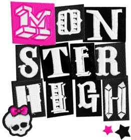 Monster High logo badge machine embroidery design