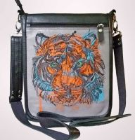 Embroidered women bag with tiger design
