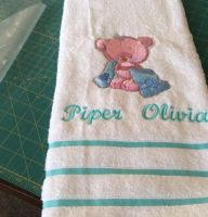 Towel with Teddy Bear after shower embroidery design