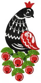 Fantastic bird and berries machine embroidery design