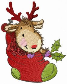 Fawn in cozy Christmas sock machine embroidery design