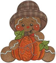 Gingerbread man with pumpkin