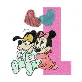Mickey Mouse and Minnie Mouse L Love  machine embroidery design